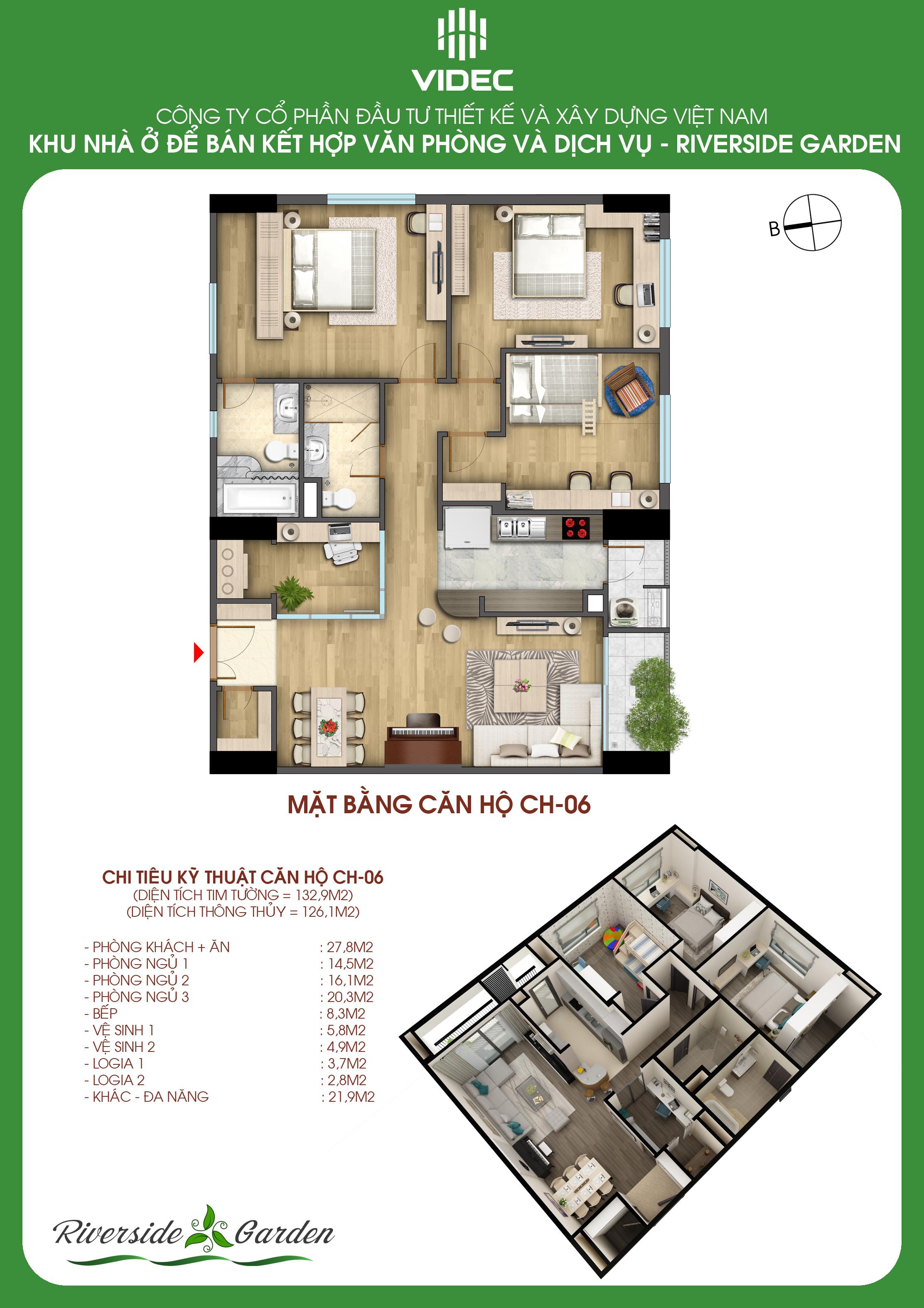 Căn hộ góc Vip nhất Dự án chung cư 349 Vũ Tông Phan Riverside Garden