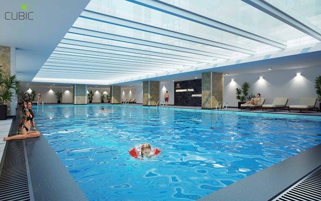 Tiện ích bể bơi 4 mùa tại tầng 4 Dự án chung cư 349 Vũ Tông Phan Riverside Garden