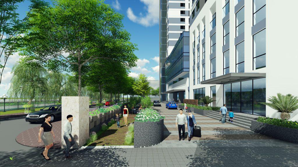 Tiền sảnh được bố trí 3 lớp cây xanh phân cách Riverside Garden với đường giao thông
