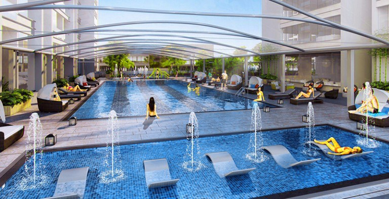 Tiện ích bể bơi tại Dự án HD Mon Central 29 Láng Hạ