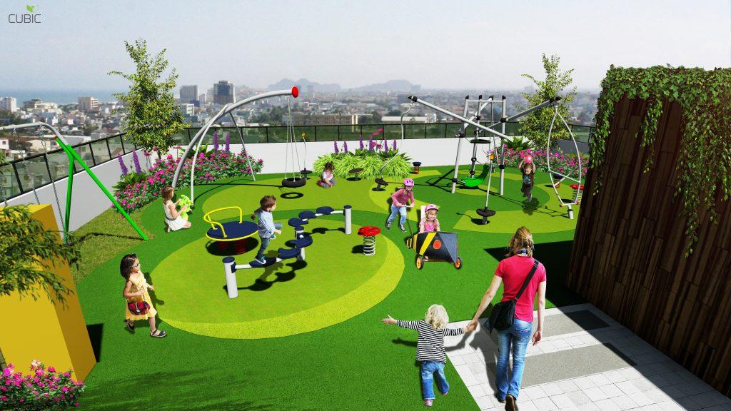 Khu vui chơi cho trẻ em trên tầng mái Chung cư 349 Vũ Tông Phan Riverside Garden