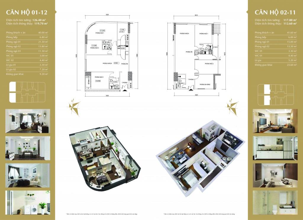 Phối cảnh căn hộ 01-12 và 02-11 dự án Imperial Plaza