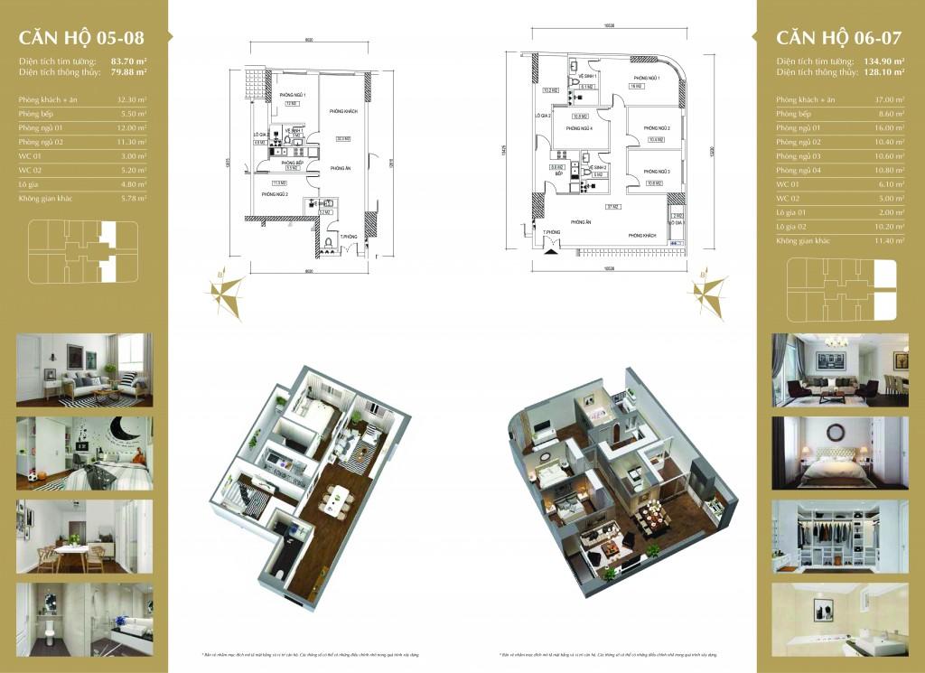 Phối cảnh căn hộ 05-08 và 06-07 dự án Imperial Plaza