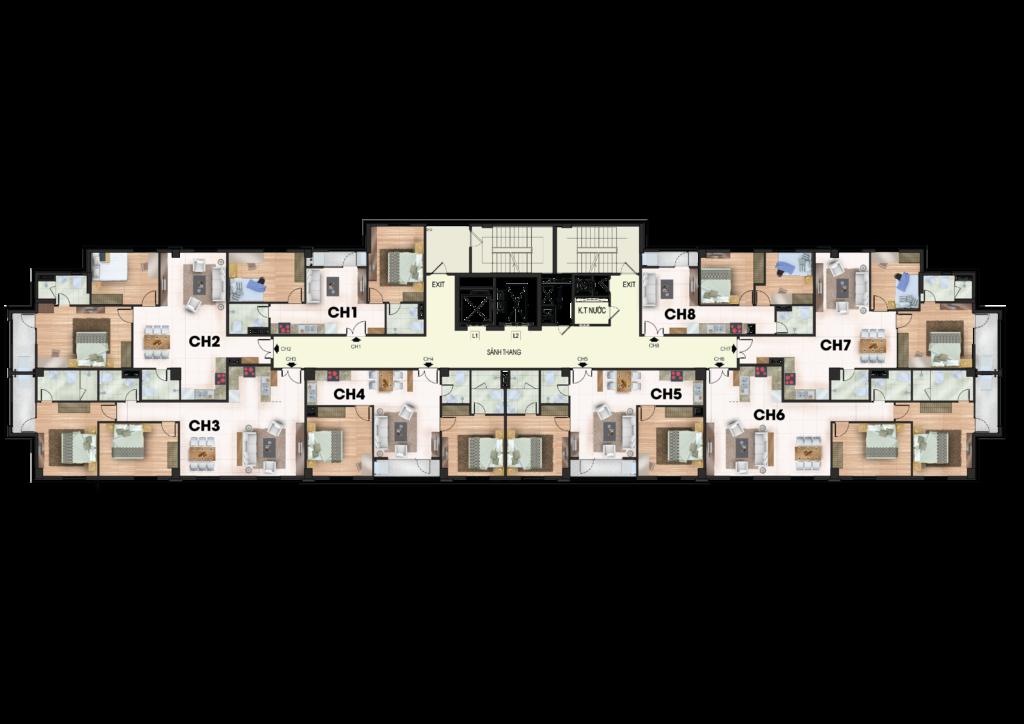 Mặt bằng điển hình tầng 8 đến 12 chung cư 259 Yên Hòa