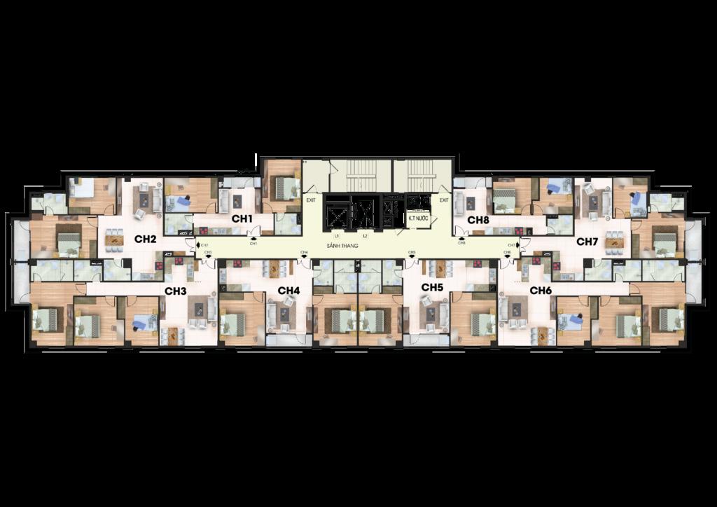 Mặt bằng điển hình căn hộ 259 Yên Hòa tầng 2 đến tầng 7