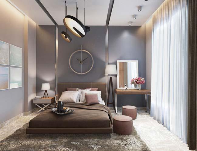 Phòng ngủ hiện đại ban ngày nhiều ánh sáng, ban đêm yên tĩnh trong căn hộ chung cư