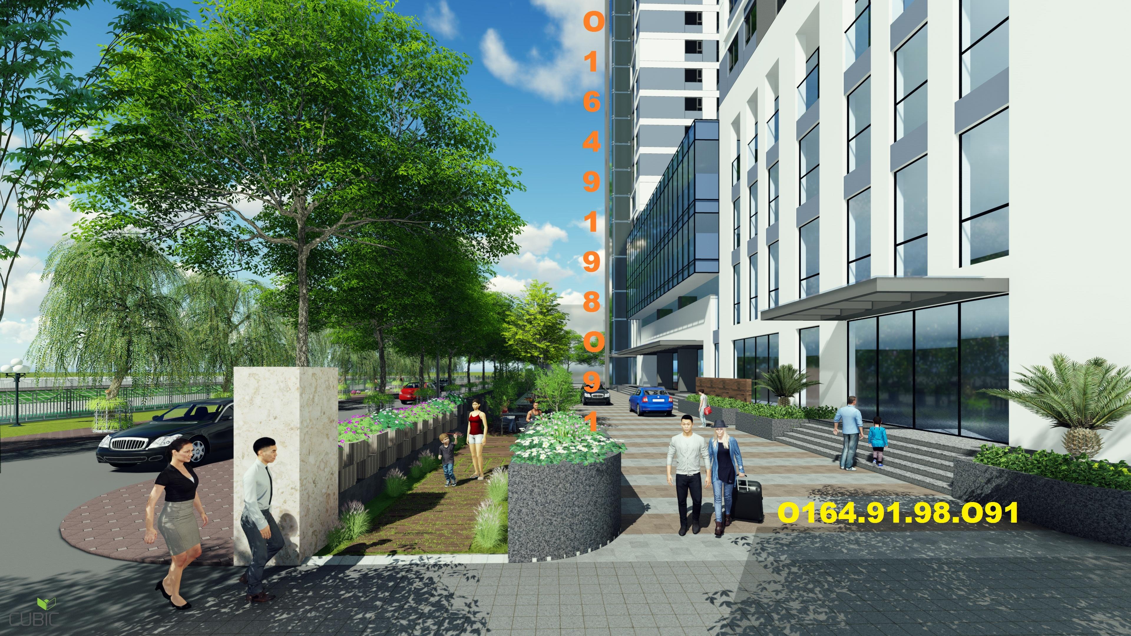 cảnh quan chung cư 349 vũ tông phan 3 lớp cây xanh