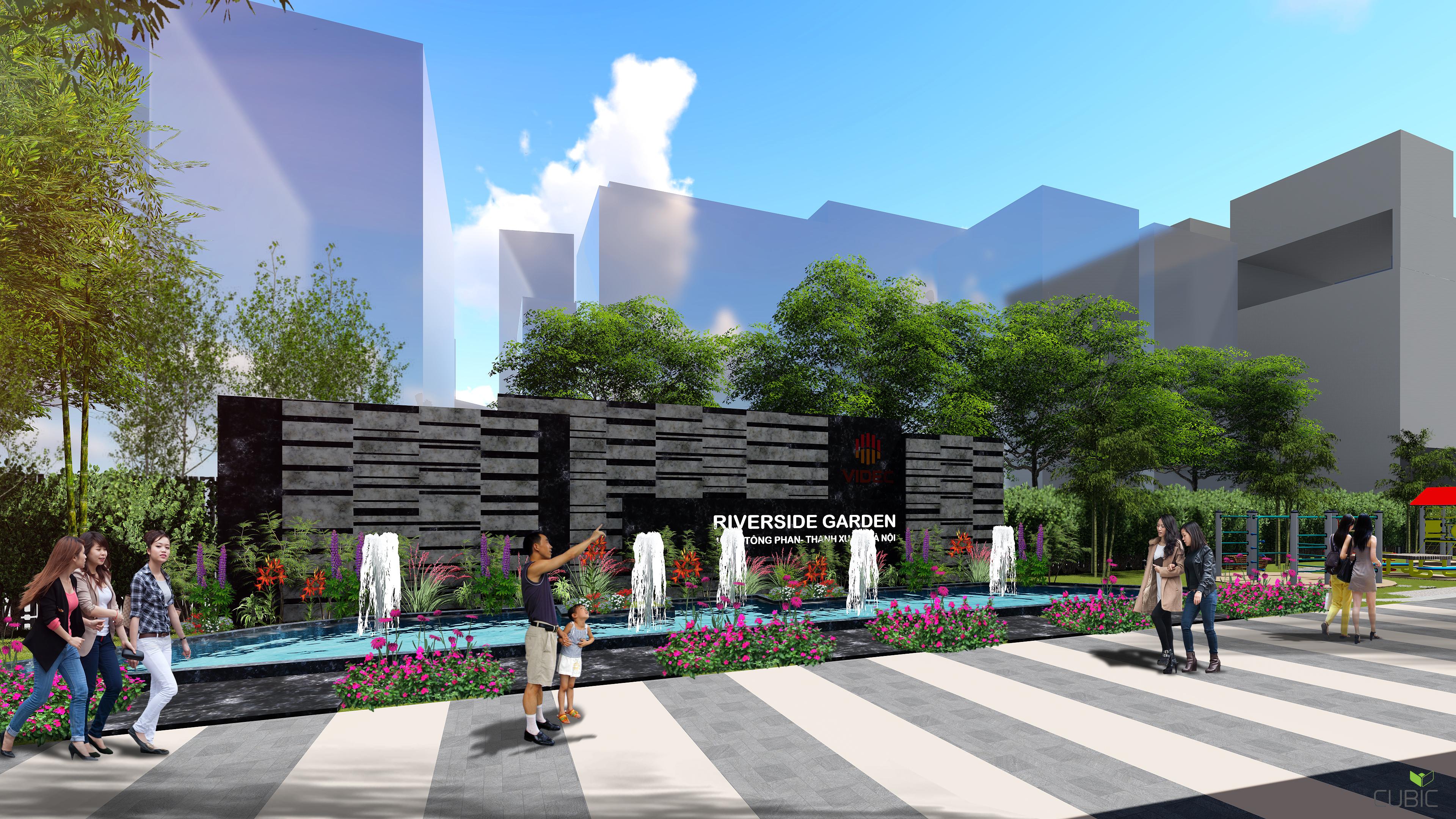 Đài phun nước dự án Riverside Garden 349 Vũ Tông Phan