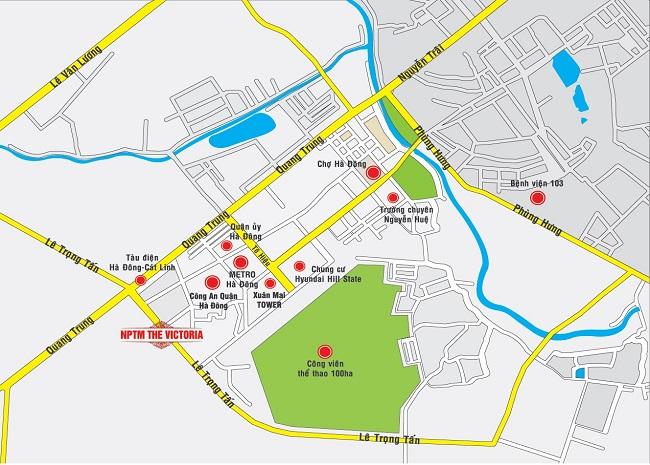 Vị trí nhà phố thương mại Văn Phú - Hà Đông