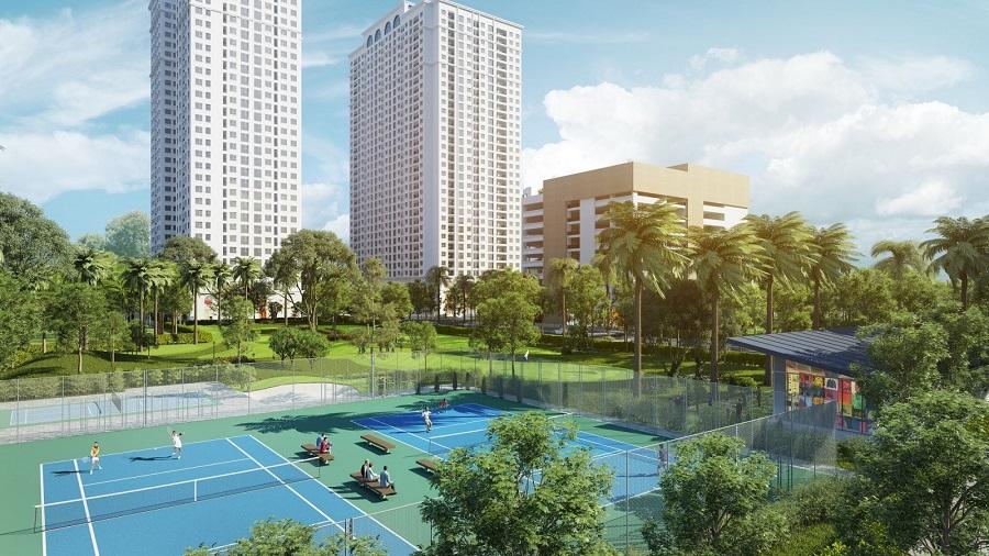 Mật độ xây dựng thấp, khuôn viên xanh, sân tennis, sân golf tại Chung cư Eco Lake View