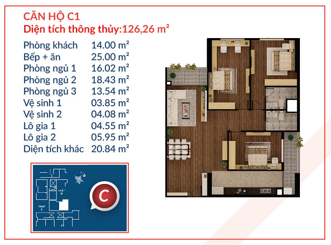 Thiết kế căn hộ C1 - Việt Đức Complex