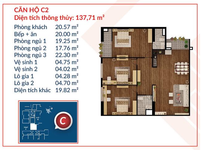 Thiết kế căn hộ C2 - Việt Đức Complex
