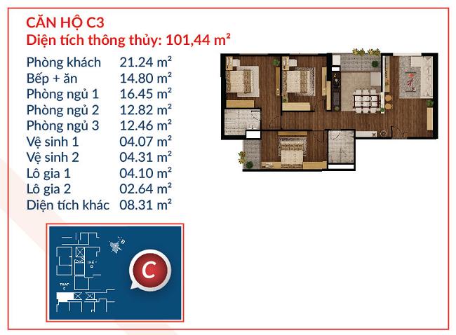Thiết kế căn hộ C3 - Việt Đức Complex