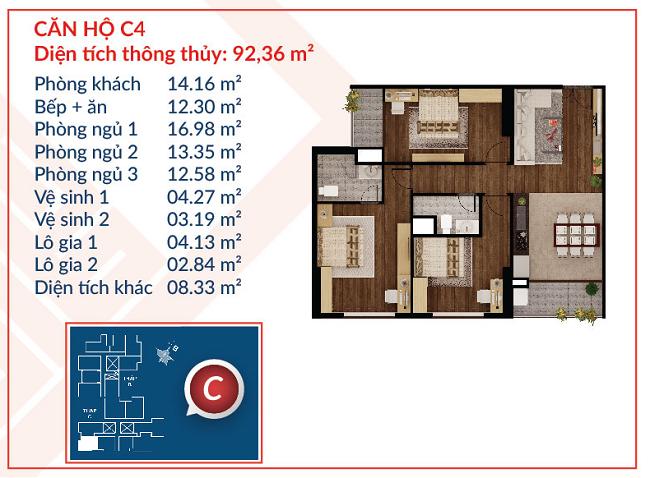 Thiết kế căn hộ C4 - Việt Đức Complex