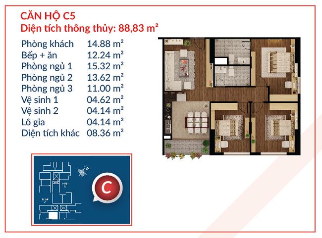 Thiết kế căn hộ C5 - Việt Đức Complex