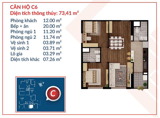 Thiết kế căn hộ C6 - Việt Đức Complex