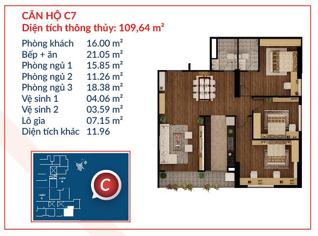 Thiết kế căn hộ C7 - Việt Đức Complex