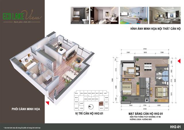 Căn hộ 67 m2 có 2 phòng ngủ Chung cư Eco Lake View