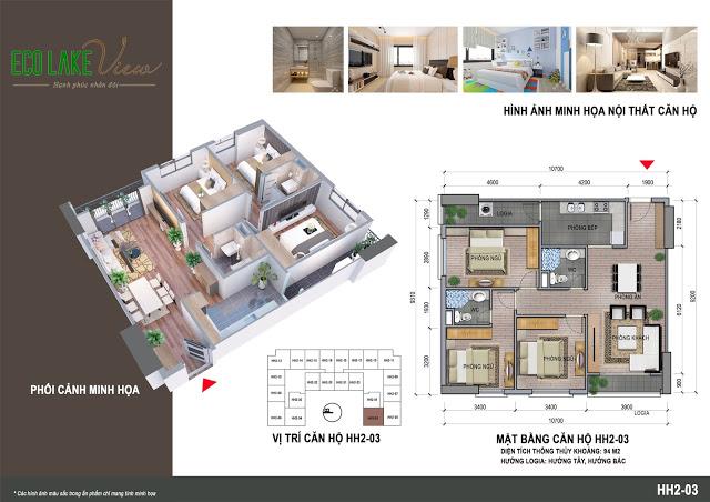 Căn hộ 3 ngủ 94 m2 Chung cư Eco Lake View