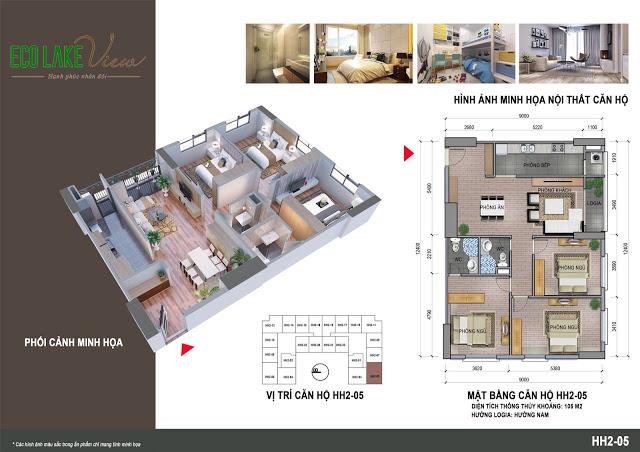 Căn hộ 3 ngủ 106 m2 Chung cư Eco Lake View
