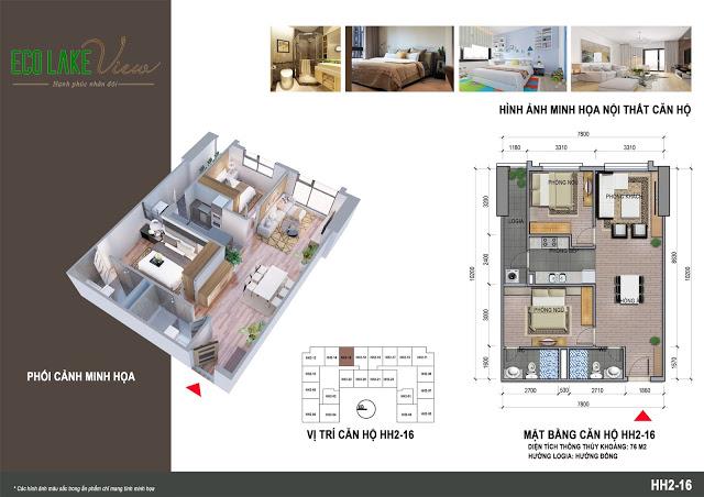 Căn hộ 75 m2 có 2 ngủ Chung cư Eco Lake View