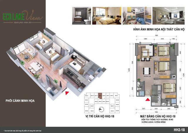 Căn hộ 3 ngủ 89 m2 Chung cư Eco Lake View