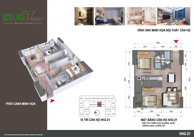 Căn hộ 2 ngủ 69 m2 Chung cư Eco Lake View