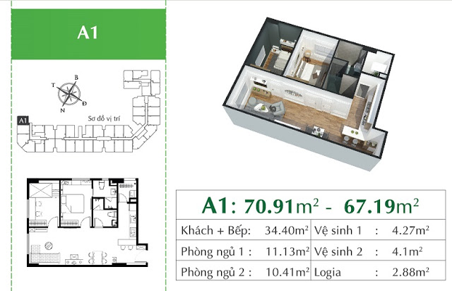 căn A1 Chung cư Eco City Việt Hưng