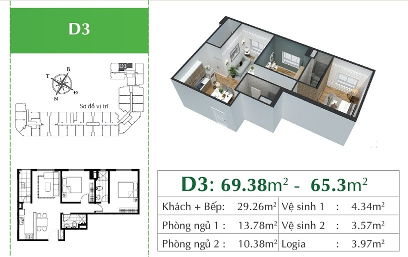 căn D3 Chung cư Eco City Việt Hưng