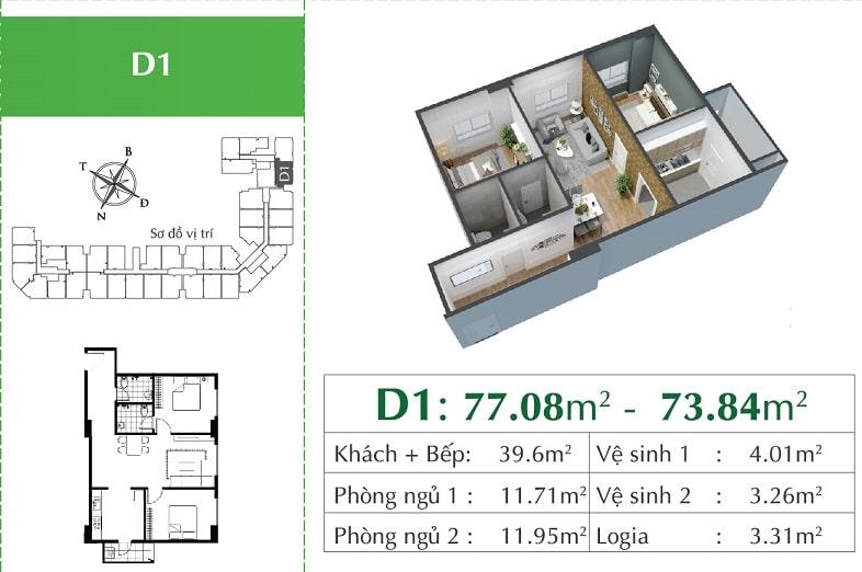 căn D1 Chung cư Eco City Việt Hưng