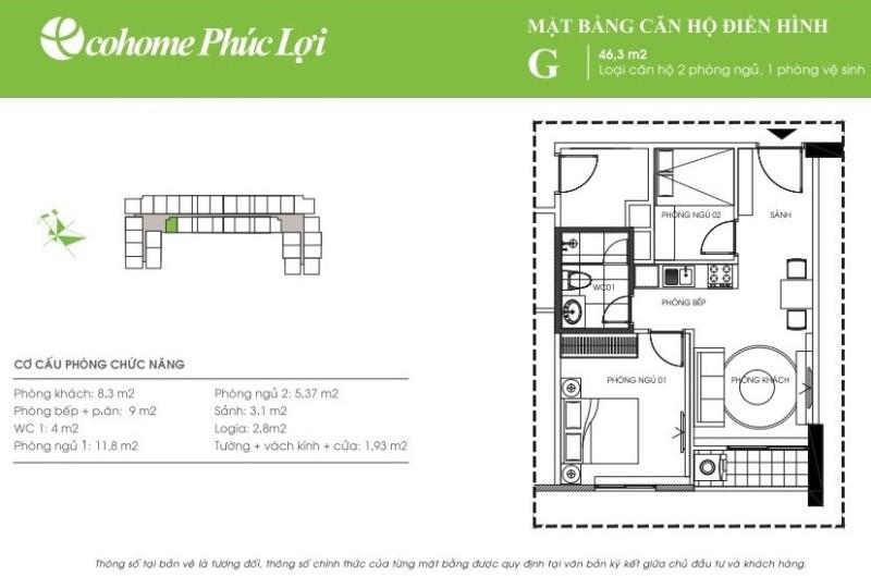 Thiết kế căn hộ G Ecohome Phúc Lợi