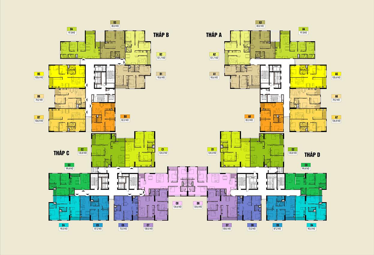 Mặt bằng điển hình dự án Chung cư Việt Đức Complex 39 Lê Văn Lương