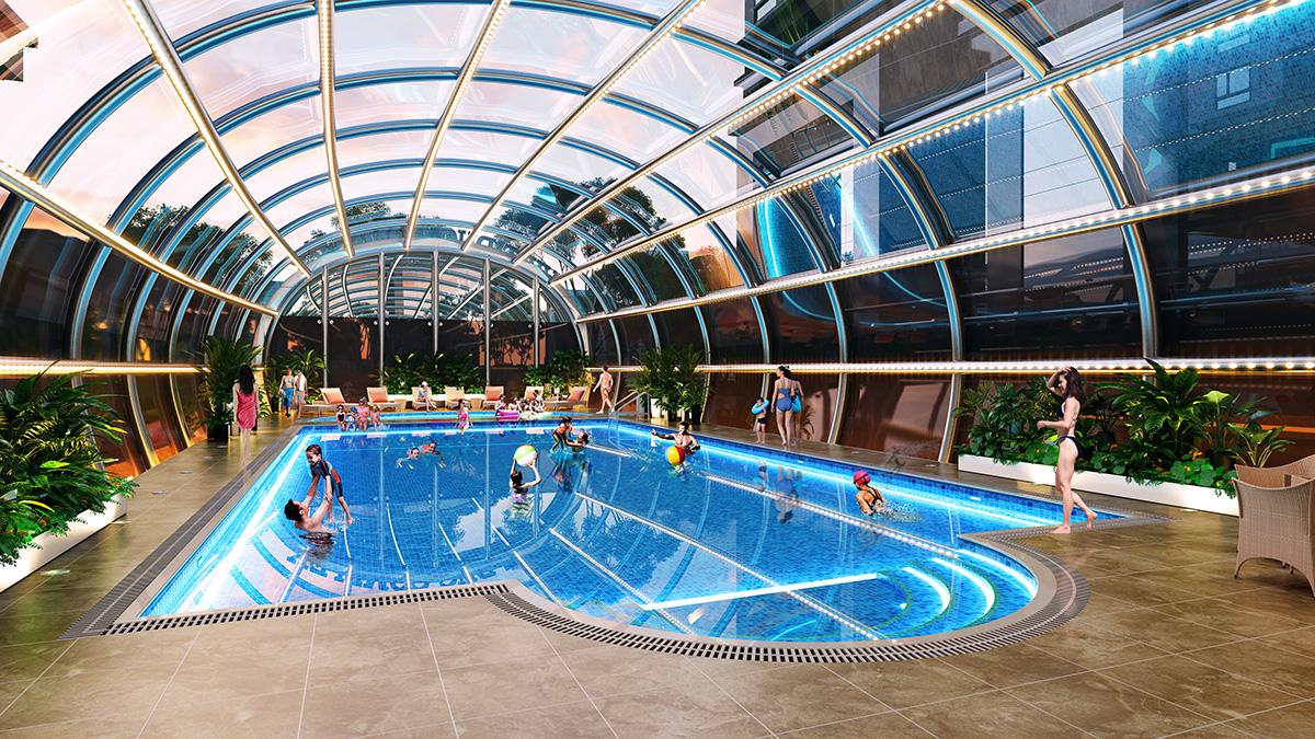 Tiện ích bể bơi đặt tại trái tim của Dự án Việt Đức Complex