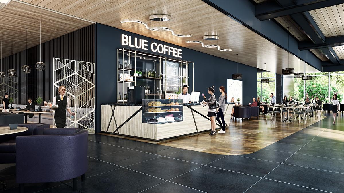 Tiệm cà phê tại khối đế thương mại Chung cư Việt Đức Complex