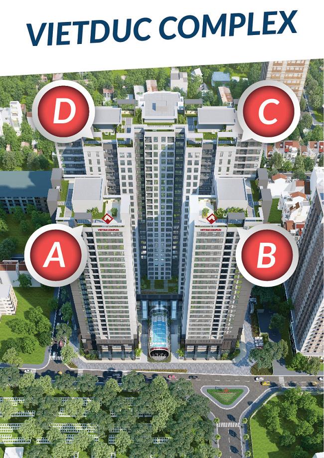Tổ hợp 4 tòa A B C D tượng trưng 4 mùa Xuân Hạ Thu Đông Việt Đức Complex