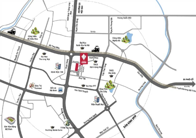 Vị trí đắc địa ngay khu phố sầm uất Duy Tân chung cư Hà Nội Paragon Cầu Giấy 181 Trần Quốc Vượng