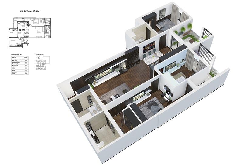 Phối cảnh 3D căn hộ 3 ngủ sân vườn Dự án Chung cư HPC Landmark 105