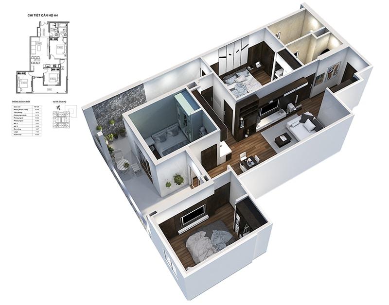 Phối cảnh 3D căn hộ 2 ngủ Dự án Chung cư HPC Landmark 105