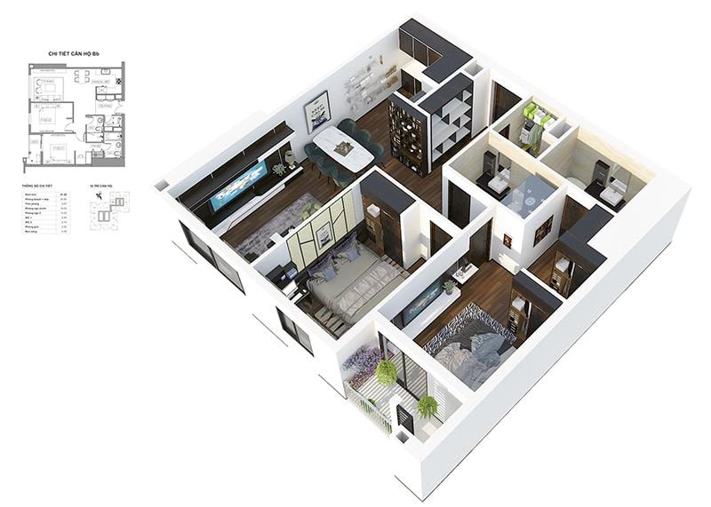 Phối cảnh 3D căn hộ 2 ngủ thường Dự án Chung cư HPC Landmark 105