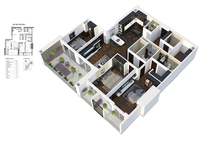 Phối cảnh 3D căn hộ 3 ngủ 3 ban công Dự án Chung cư HPC Landmark 105