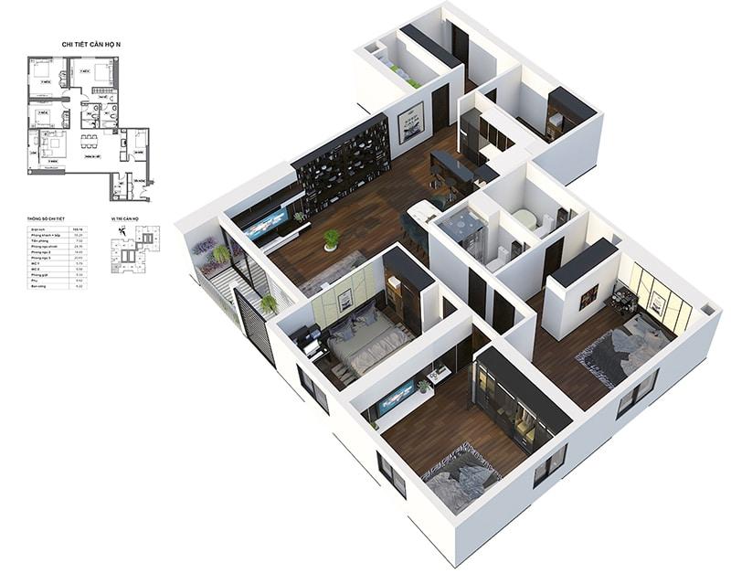 Phối cảnh 3D căn hộ góc 3 ngủ Dự án Chung cư HPC Landmark 105