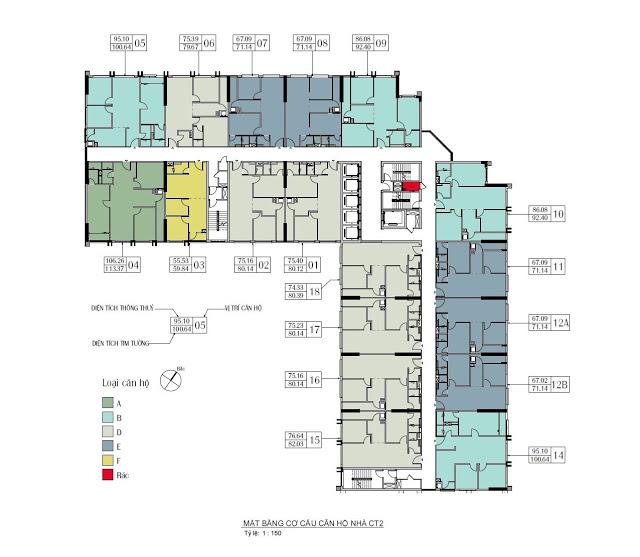Mặt bằng CT2 chung cư Eco Green City Vành Đai 3