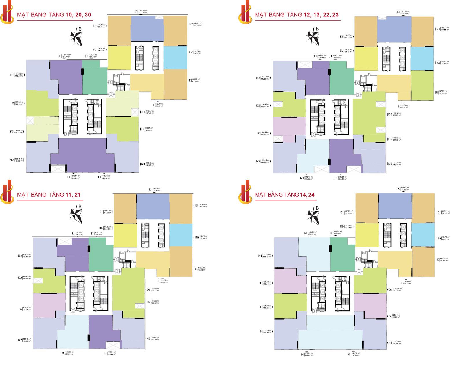 Mặt bằng tầng 30 đến 47 chung cư HPC Landmark 105