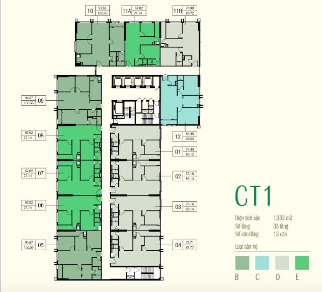 Mặt bằng CT1 chung cư Eco Green City Vành Đai 3