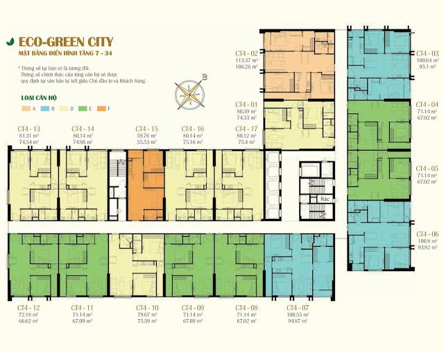 Mặt bằng CT4 chung cư Eco Green City Vành Đai 3