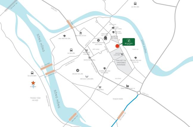 Vị trí Trung Tâm Quận Long Biên - Phố Đông Hà Nội