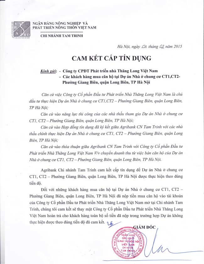 Cam kết tín dụng Ngân hàng - Chung cư Ruby City Việt Hưng