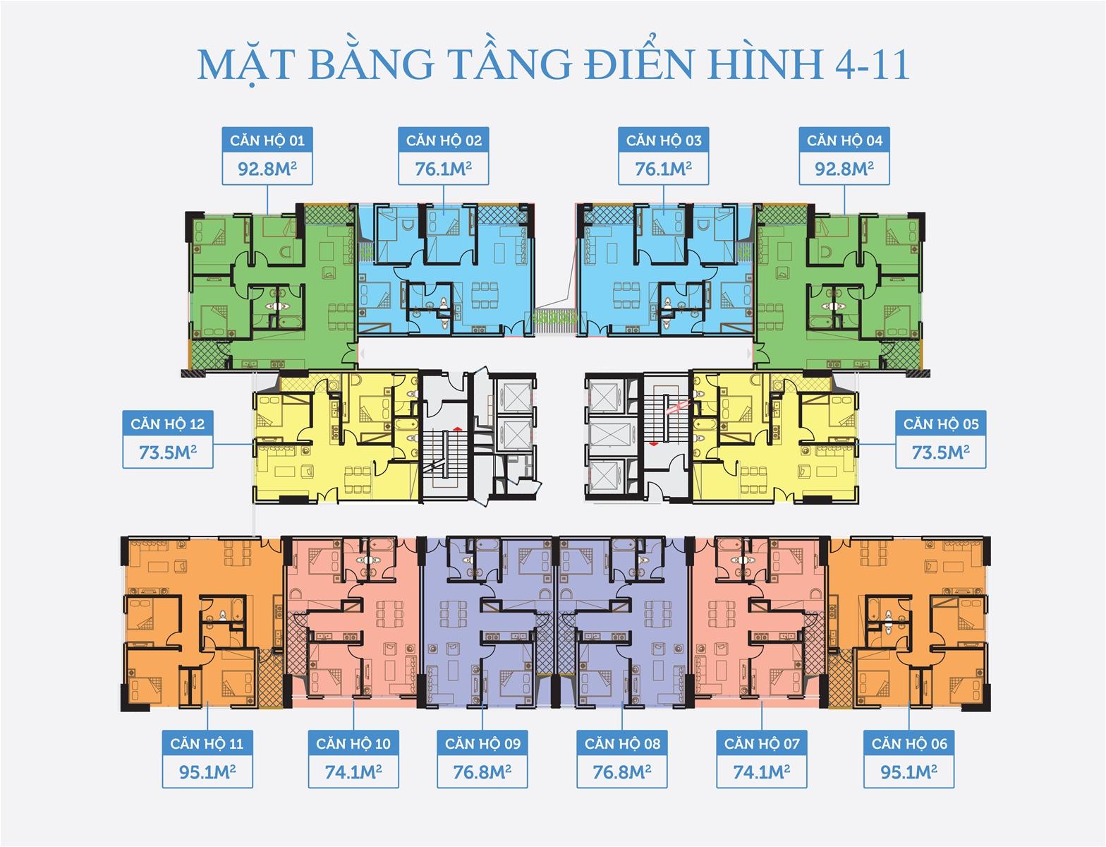 Mặt bằng tầng điển hình tại Dự án Chung cư Smile Building Đại Kim