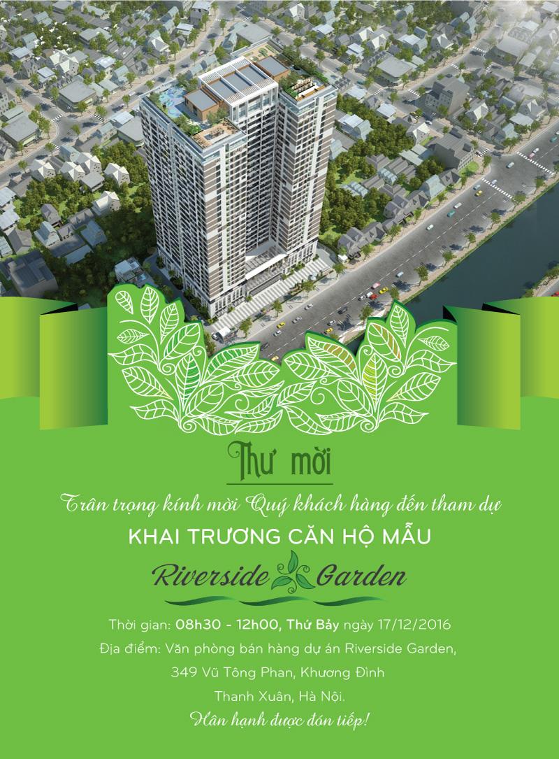 Thư mời mở bán đợt 2 và Khai trương Nhà Mẫu Riverside Garden chung cư Vũ Tông Phan