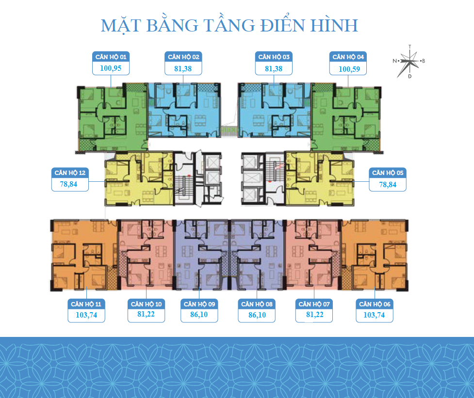Mặt bằng sàn điển hình 12 căn hộ Chung cư Smile Building Định Công